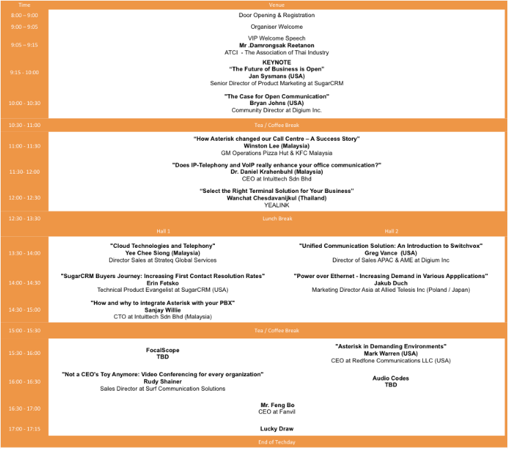 Techday 2012 Asterisk Conference Agenda